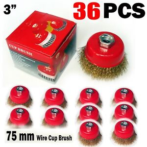 36 Pcs Of 3 X 5 8 Arbor Fine Crimped Wire Cup Wheel Brush For Angle Grinders