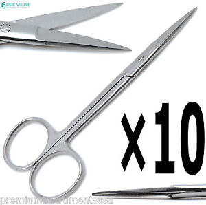 10 Pcs New Iris Scissors Straight 4 5 Dental Veterinary Surgical Instruments