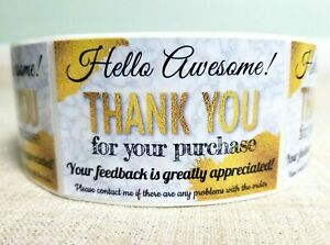 500 Gold Thank You For Your Purchase Sticker Label Feedback Sticker Label 2 x3