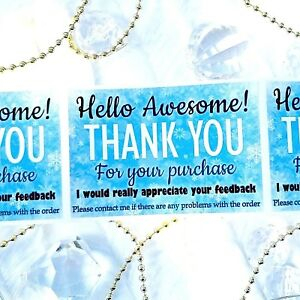 500 Blue Thank You For Your Purchase Sticker Label Feedback Sticker Label 2 x3