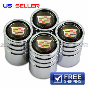 Valve Stem Caps Wheel Tire Chrome For Cadillac Ve06 Us Seller