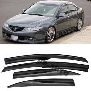For 04 08 Acura Tsx Mugen Style Smoke Tinted Window Frame Visors Rain Guards Cl9