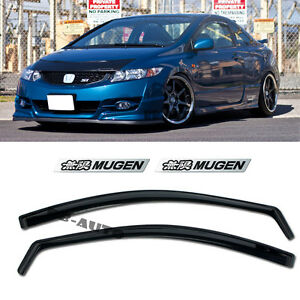 For 06 11 Honda Civic In channel Side Si Window Visor 2dr Coupe Mugen Emblems