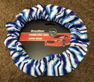 Driver Blue Zebra Soft Plush Fuzzy Auto Car Steering Wheel Cover For Winter D3
