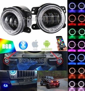 4 30w Cree Led Bluetooth Fog Light With Rgb Halo Angel Ring For Jeep Wrangler