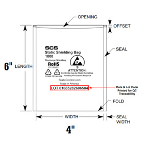 Scs Esd Anti static Shielding Bags Open top Discharge Lead free 4x6 Computer C3