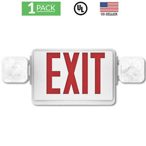 Sunco Single double Face Led Combo Emergency Exit Sign W 2 Head Lights