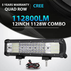Quad Row 12inch 1128w Led Light Bar Spot Flood Offroad Jeep Truck Atv Suv Jk 14