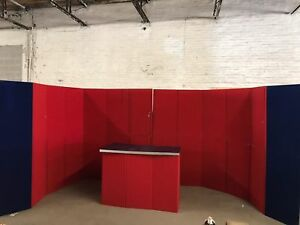 Abex Trade Show Booth 10 x12 Red Blue With Counter 2 Large Wheeled Road Case
