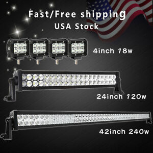 42inch Led Light Bar Combo 20in 4 Cree Pods Offroad Suv 4wd Atv Fog Jeep 22inch