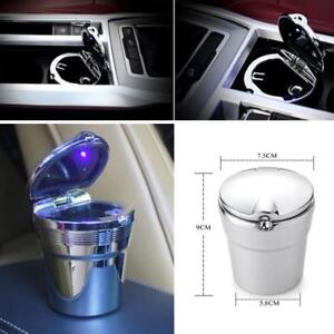 Silver Stainless Car Cigarette Ashtray Ash With Blue Led Light For Cup Holders