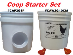 Coop 2 Pack Automatic Chickien Gravity Feeder 4 Drinker Cup Waterer
