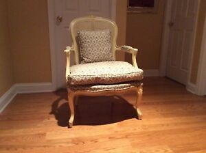 Vintage Cane Back Down Cushion Chair Bergere French Louis Xv Style Boudoir Chair