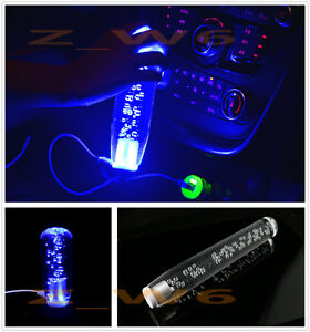 11 8 Inch Universal Crystal Bubble Blue Led Light Manual Shift Knob Shifter