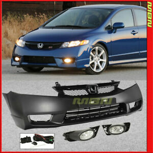 06 11 For Honda Civic Si Style Complete Kit Front Bumper Cover Grille Fog Lights