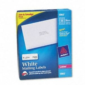 Avery Smooth fed Sheet White Laser Address Labels box Of 2500