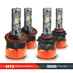 H13 9006 Combo Led Headlight High low Beams fog Light Kit 6000k Total 4 Bulbs