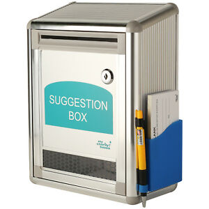Mcb Aluminum Suggestion Donation Box w pen And Pack Of Suggestion Sheets