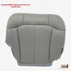 1999 2000 2001 2002 Chevy Silverado 1500 Passeger Bottom Leather Seat Cover Gray