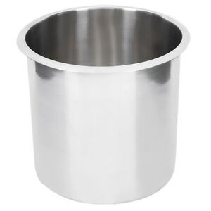 11 Qt Stainless Steel Round Silver Bain Marie Restaurant Inset Pot
