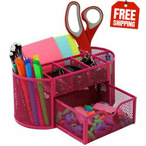 Mesh Desk Organizer Caddy For Office Supplies And Desk Accessories Pink