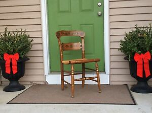 Vintage Ethan Allen Button Back Hitchcock Hand Stenciled Painted Gilt Rush Seat