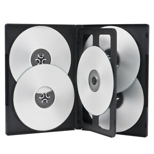 25 Standard 14mm Black Five 5 Disc Dvd Cases With Clear Overlay Holds 5 Disc