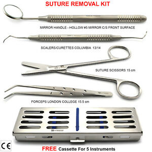 Basic Dental Suturing Kit Suture Removal First Aid Scissors Tweezers Cotton tray