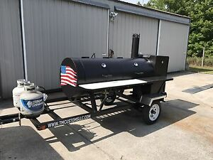 Bbq Pit Smoker W Gas Trailer Mounted Bbq Propane Burners