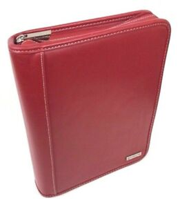 Franklin Covey Planner Organizer 7 Ring Binder Full Zip Red Leather 8x10