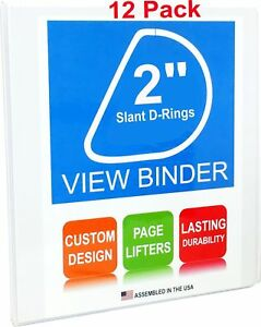 3 Ring Binders 2 Inch Slant D rings White Clear View Pockets 12 Pack