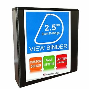 3 Ring Binder 2 5 Inch Slant D rings Clear View Pockets Black 12 Pack