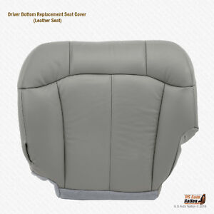 2001 2002 Gmc Sierra 1500 Driver Bottom Leather Replacement Seat Cover Gray