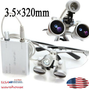 1pcs Dentist Dental Loupes 3 5x 320mm Optical Glass Magnifier Led Headlight Lamp