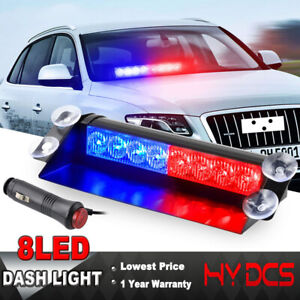 8 Led Car Emergency Warning Police Dash Flashing Strobe Light Bar 12v Red Blue