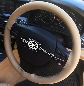 Beige Leather Steering Wheel Cover For Mercedes Ml W164 2006 11 Grey Double Stch