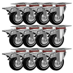 12 Pack Quality 3 Swivel Caster Wheels W double Brake Non Skid No Mark