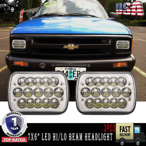 7x6 Led Sealed Beam Headlight Projector Lamps For Chevy S10 Sonoma Truck Pack2