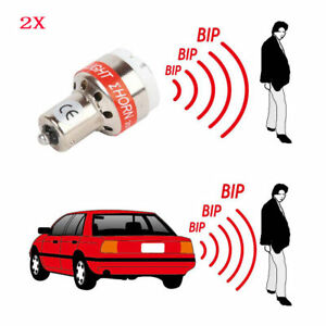 2x 12v Led Back Up Light Car Reverse Alarm Beeper Alert Warning Buzzer Led Bulbs