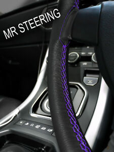 Leather Steering Wheel Cover For Mercedes W114 W115 1968 76 Purple Double Stitch