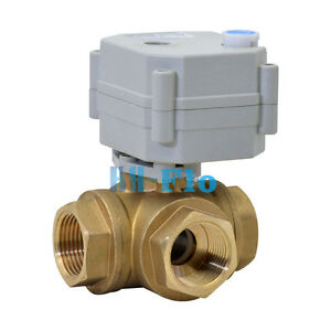 Hsh flo 1 Dn25 3 Way T Port 9 36v Ac dc Motorized Ball Valve Electrical Valve