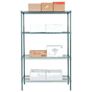 Heavy Duty 18 X 48 X 74 Green Epoxy Wire Shelf Rack Commercial
