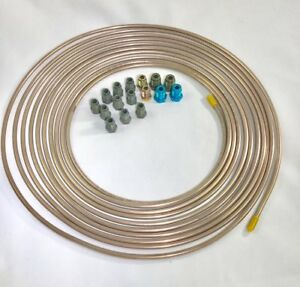 25 Ft Copper Nickel 3 16 Brake Line W Metric Iso bubble Flare Fittings