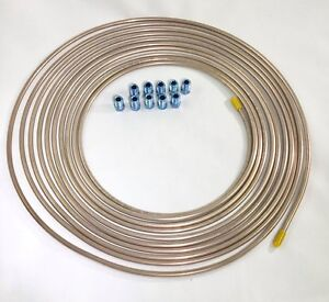 25 Ft Copper Nickel 3 16 Brake Line W Metric Invert Flare Fittings 10x1