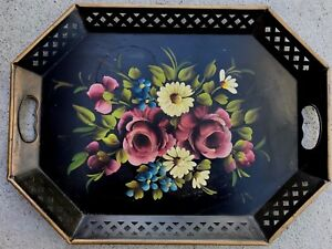 Nashco Vintage Hand Painted Tole Tray With Reticulated Edges