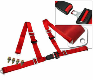 Car Truck 4 Point Racing Seat Belt Harness Adjustable Auto Universal Red
