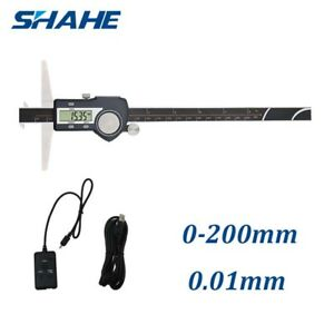 0 200mm Ip54 Double Hooks Digital Depth Vernier Caliper Set With Usb Cable