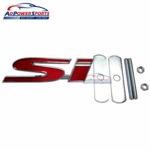 Red Metal Si Badge Front Grille Emblem Decal Sticker For Honda Civic Ex Lx Ep Bb