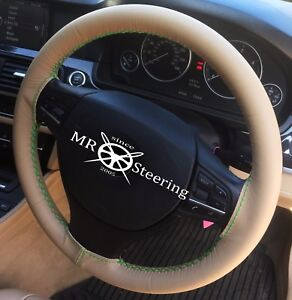 Fits Mercedes Cl C215 00 06 Beige Leather Steering Wheel Cover Green Double Stch
