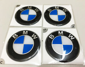 New 4 Pcs For Bmw 45 Mm Resin Wheel Center Caps Logo Badge Decal Emblem Sticker